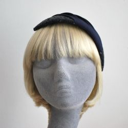 Navy Sequin and Pleated Crepe Half Hat