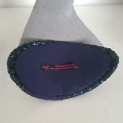 Navy Sequin and Pleated Crepe Half Hat lining