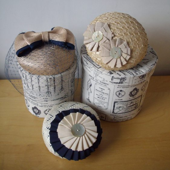 Three straw button hats handmade by Imogen's Imagination