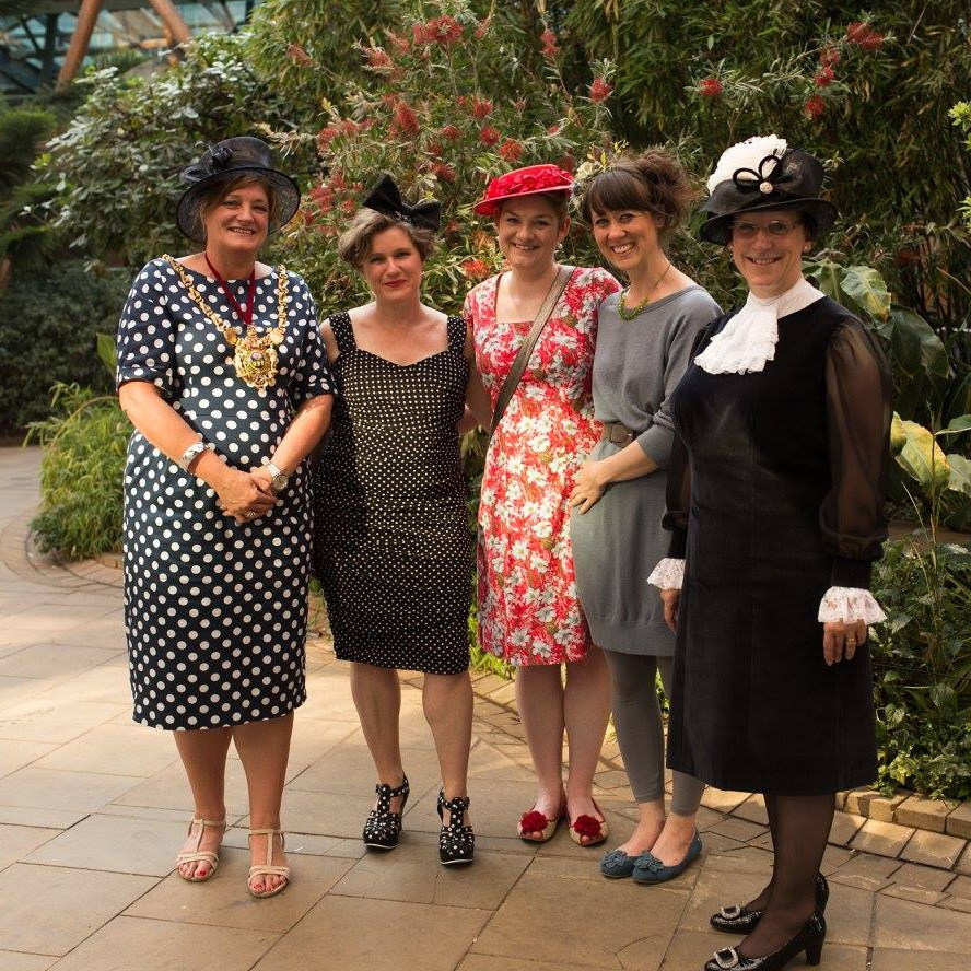 The Hat Stand milliners with the Lord Mayor of Sheffield and the High Sheriff of South Yorkshire