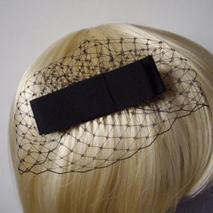 Black Ribbon Bow Hair Comb detail
