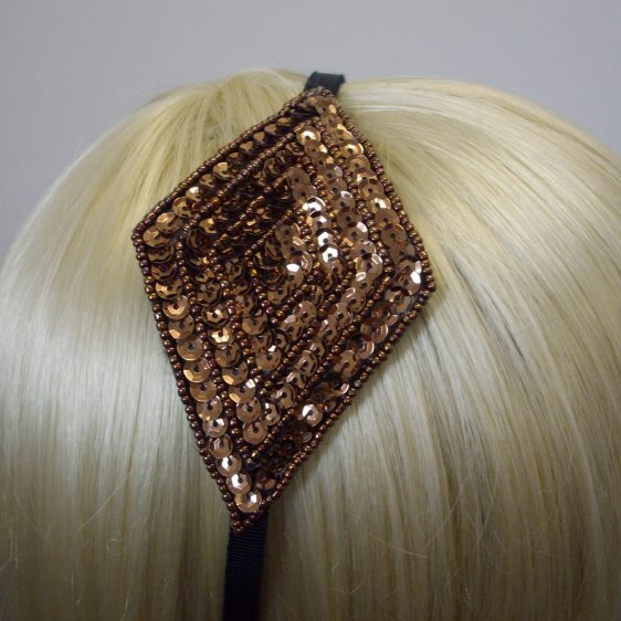 Bronze Sequin and Beaded Motif Headband detail