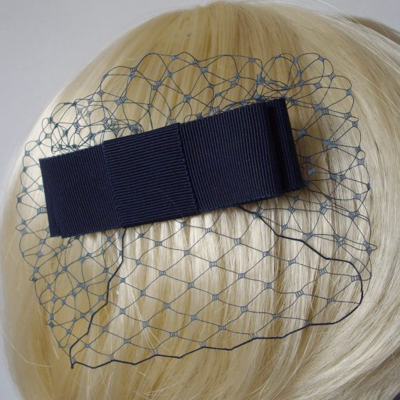 Navy Blue Ribbon Bow Hair Comb detail