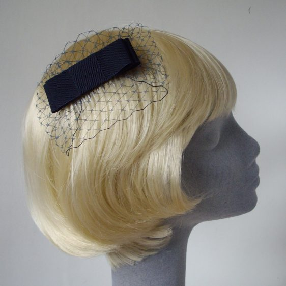 Navy Blue Ribbon Bow Hair Comb