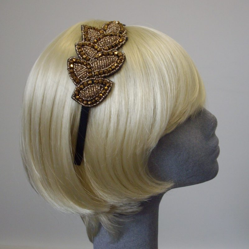 Gold Headband with Beaded Leaf Motif