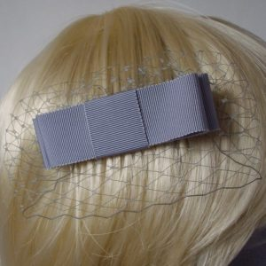Grey Ribbon Bow Hair Comb detail