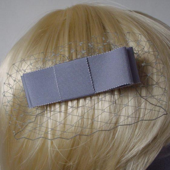 Grey Ribbon Bow Hair Comb detail