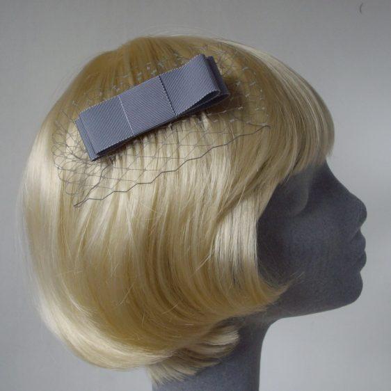 Grey Ribbon Bow Hair Comb