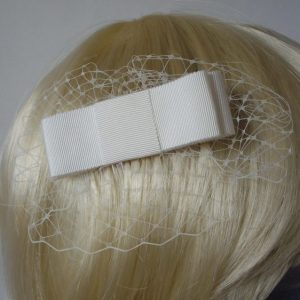Ivory Ribbon Bow Hair Comb detail
