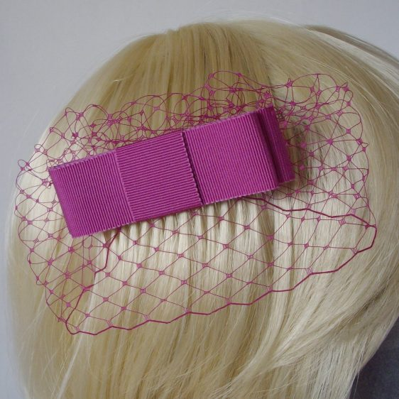 Pink Ribbon Bow Hair Comb detail