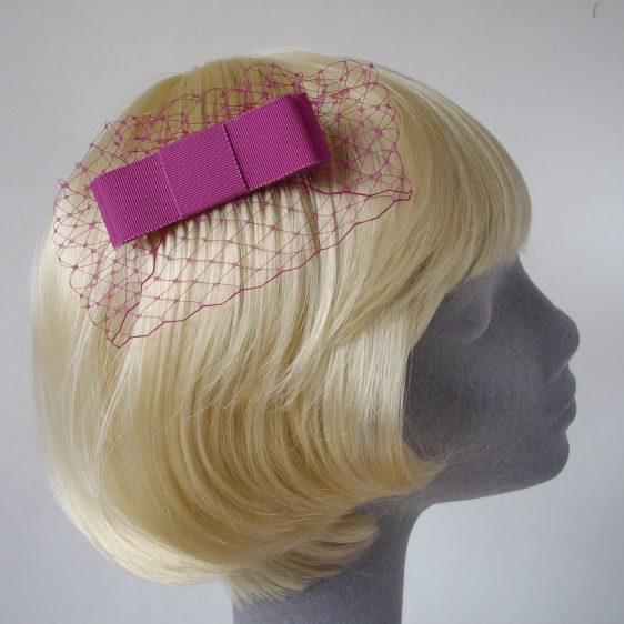 Pink Ribbon Bow Hair Comb