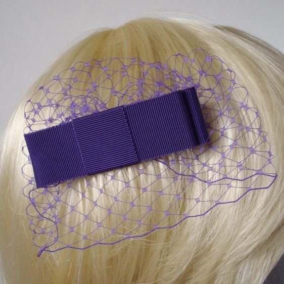Purple Ribbon Bow Hair Comb