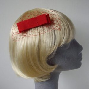 Red Ribbon Bow Hair Comb