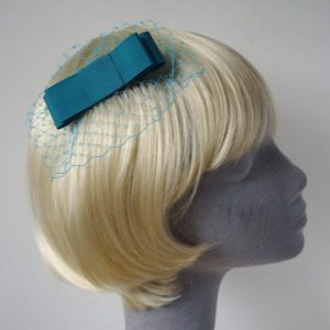 Turquoise Ribbon Bow Hair Comb