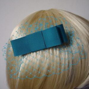 Turquoise Ribbon Bow Hair Comb detail