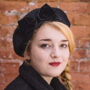 Black Beret Black Velvet Ribbon Bow