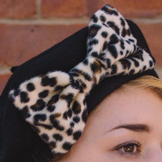 Black Beret Leopard Fake Fur Bow detail2