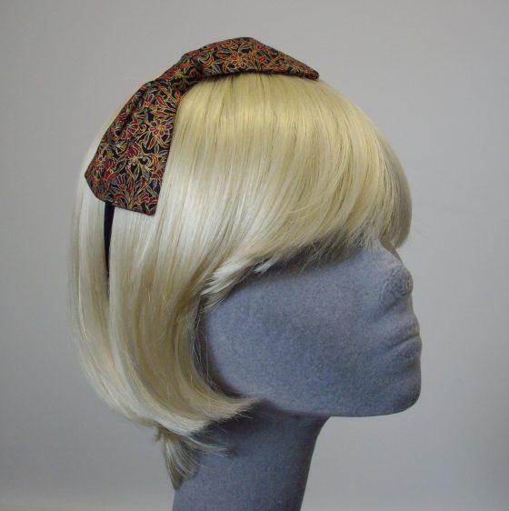 Black Gold Christmas Bow Headband angle