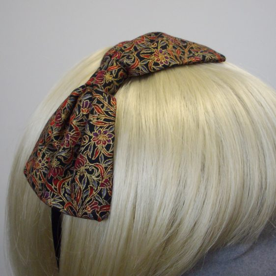 Black Gold Christmas Bow Headband detail2