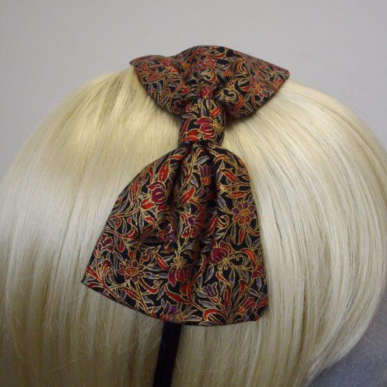 Black Gold Christmas Bow Headband detail