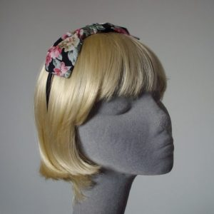 Black Pink Lilac Floral Bow Headband