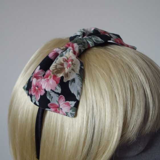 Black Pink Lilac Floral Bow Headband detail2