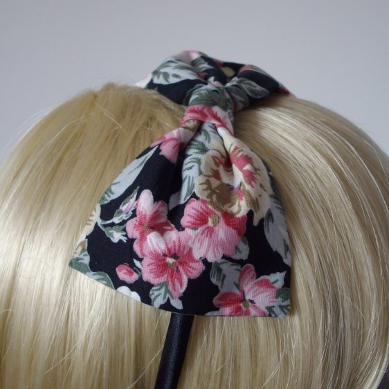 Black Pink Lilac Floral Bow Headband detail
