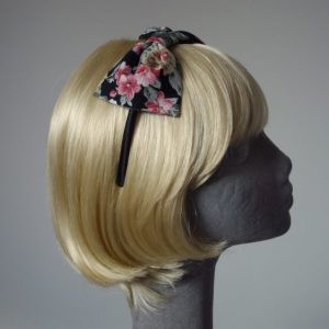 Black Pink Lilac Floral Bow Headband angle