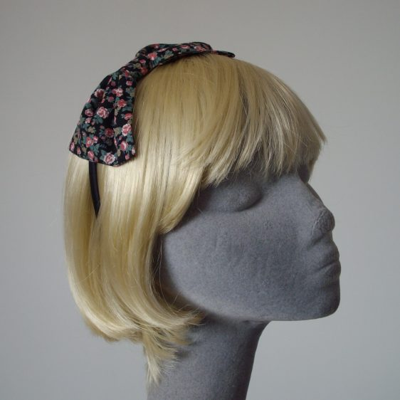 Black Pink Ditsy Floral Bow Headband