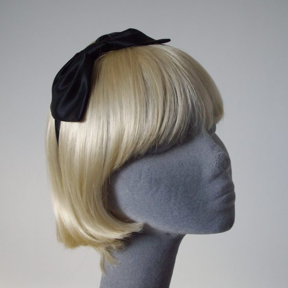 Black Satin Bow Headband
