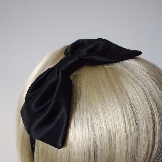 Black Satin Bow Headband detail2
