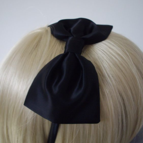 Black Satin Bow Headband detail