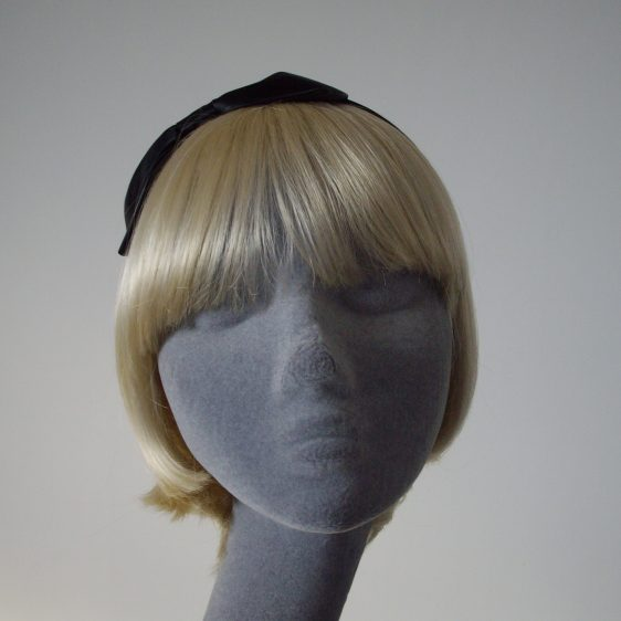Black Satin Bow Headband front