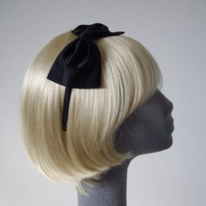 Black Satin Bow Headband side