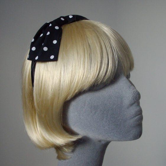 Black White Polka Dot Bow Headband