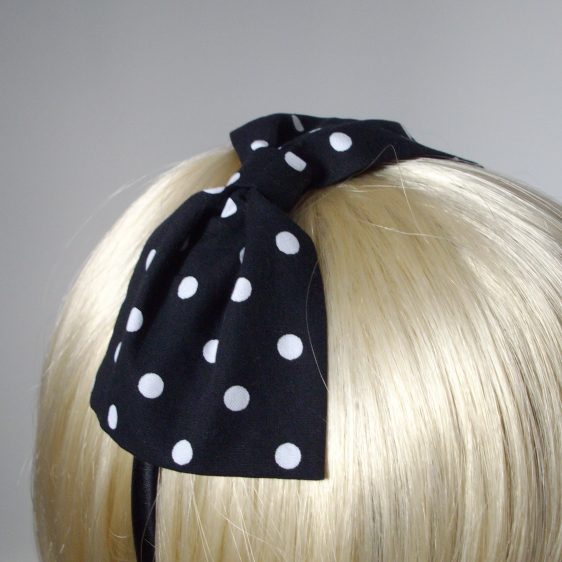 Black White Polka Dot Bow Headband detail2