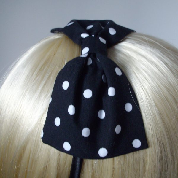Black White Polka Dot Bow Headband detail