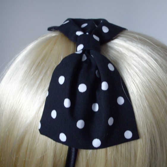 Black White Polka Dot Bow Headband detail