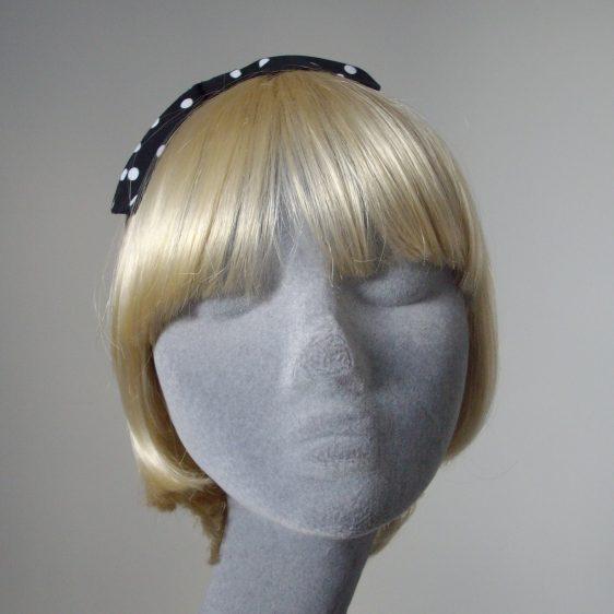 Black White Polka Dot Bow Headband front