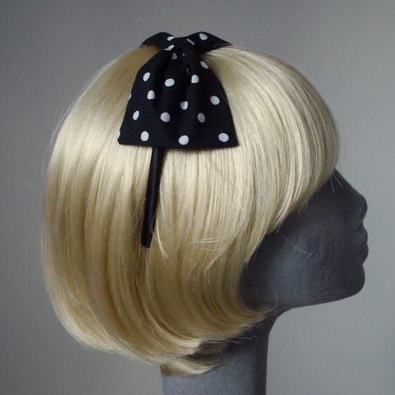 Black White Polka Dot Bow Headband side