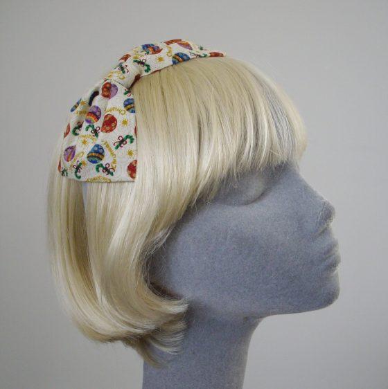 Cream Christmas Bauble Bow Headband angle