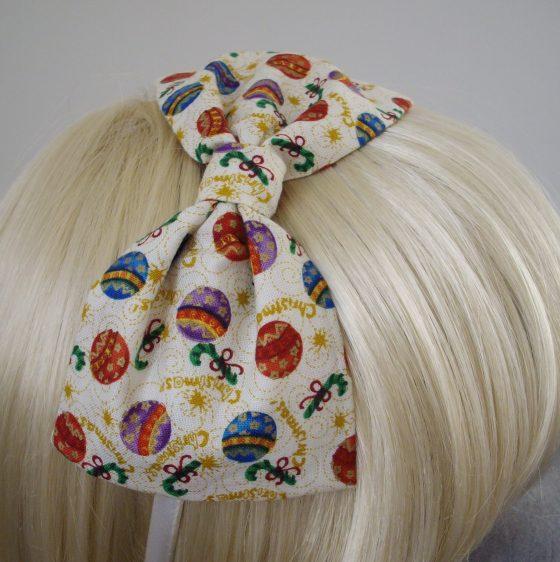 Cream Christmas Bauble Bow Headband detail