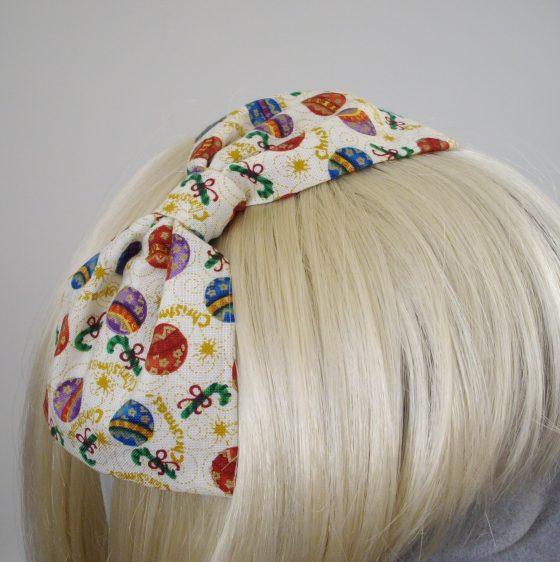 Cream Christmas Bauble Bow Headband detail2