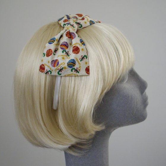 Cream Christmas Bauble Bow Headband side