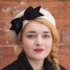 Ivory Beret Black Velvet Ribbon Bow