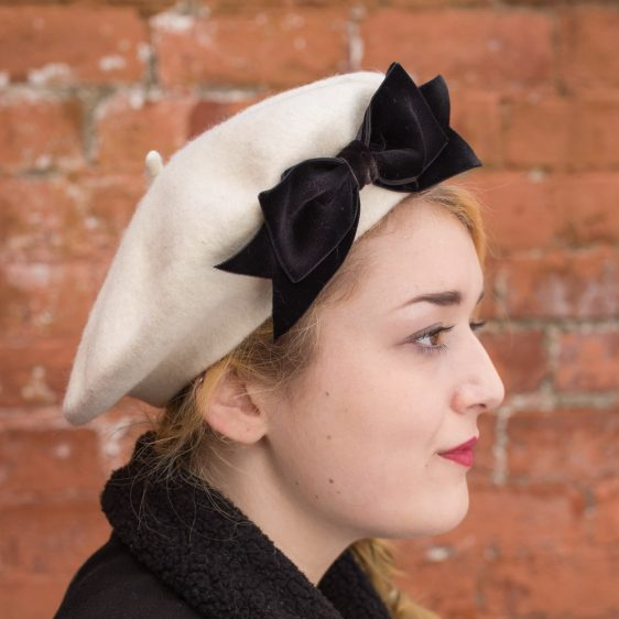 Ivory Beret Black Velvet Ribbon Bow side