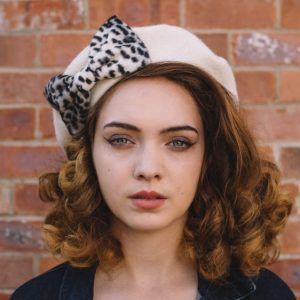 Ivory Beret Grey Leopard Fake Fur Bow