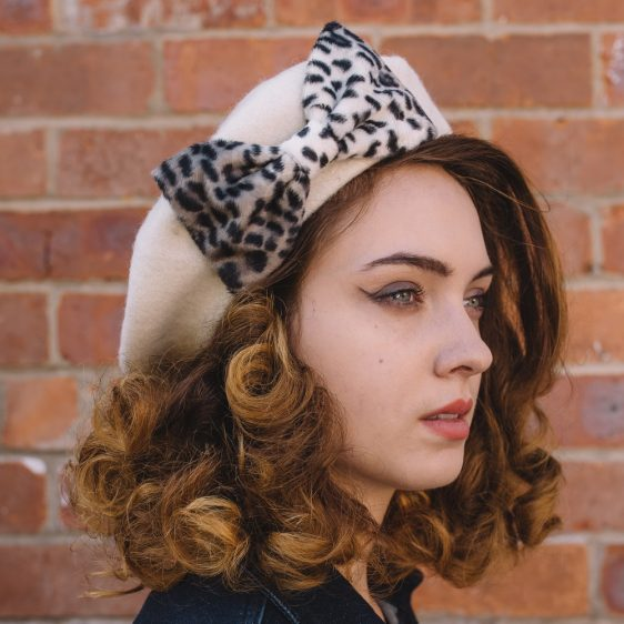 Ivory Beret Grey Leopard Fake Fur Bow side