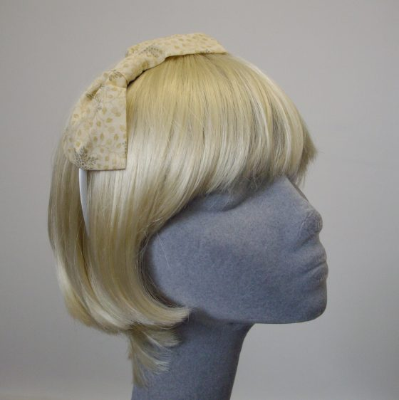 Cream Gold Christmas Snowflake Bow Headband angle