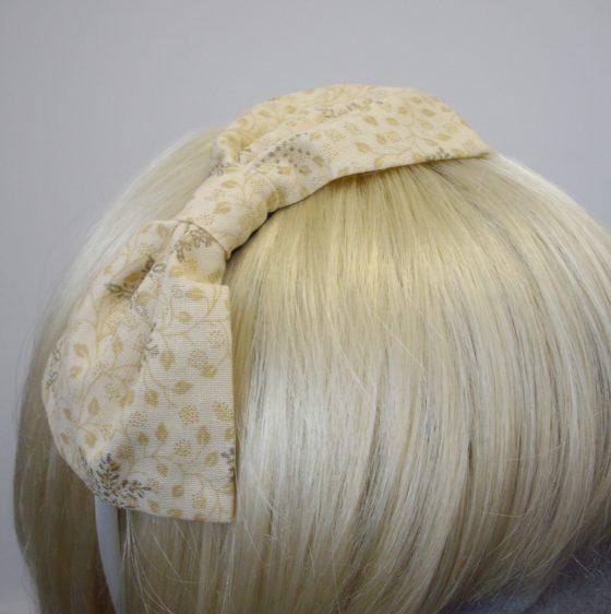 Cream Gold Christmas Snowflake Bow Headband detail2